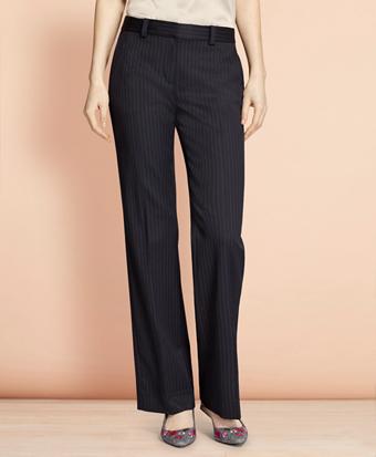 Wide-Leg Pinstripe Stretch Wool Trousers