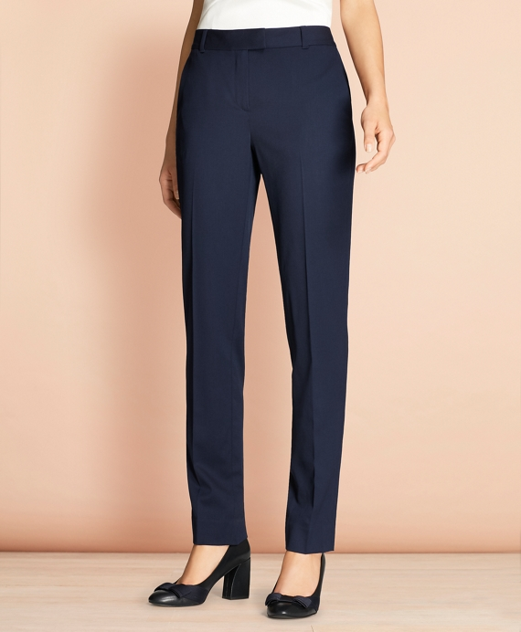 Tapered Stretch Wool Trousers Navy
