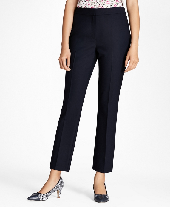 Stretch Wool-Blend Boot-Cut Pants Navy