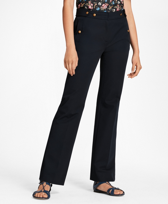 Stretch Cotton Twill Pants Navy
