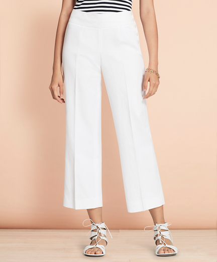 Linen-Cotton Wide-Leg Cropped Pants