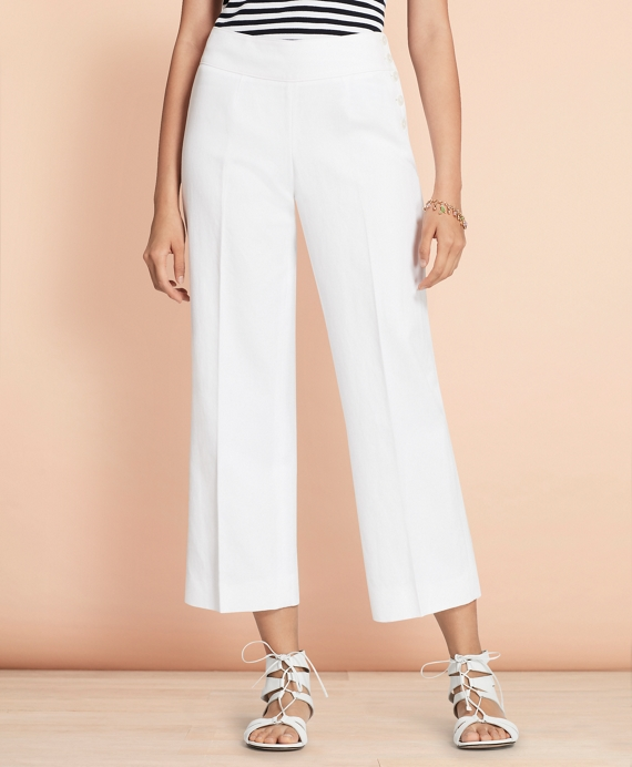 Linen-Cotton Wide-Leg Cropped Pants White