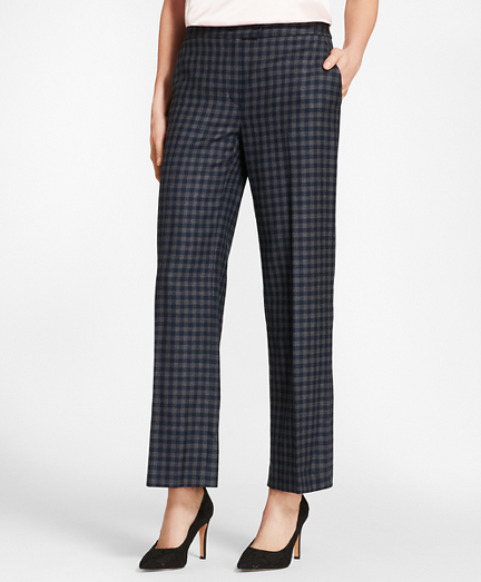 Gingham Wool Twill Pants
