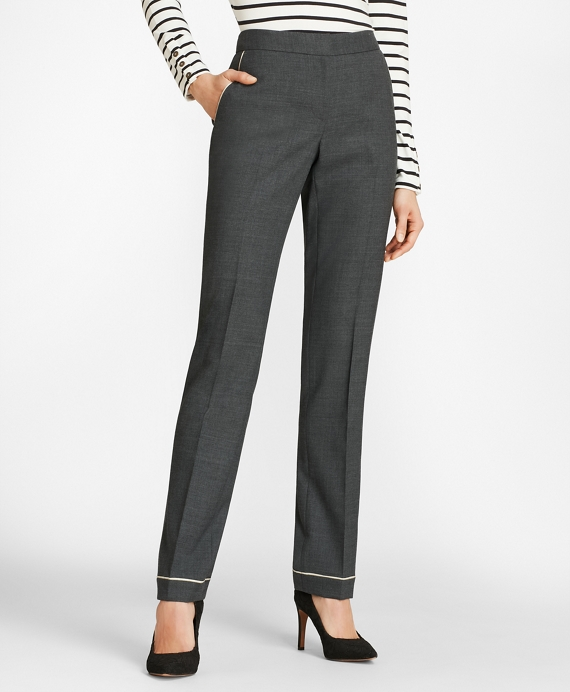 Piped Wool-Blend Twill Pants