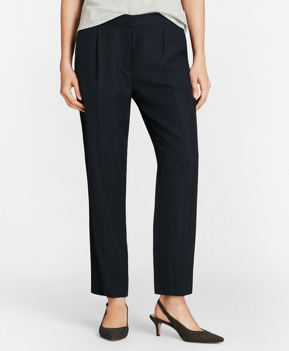 Pleat-Front Straight-Leg Trousers Navy