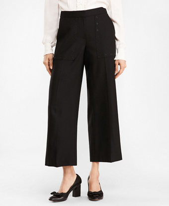 Stretch Wool Wide-Leg Cropped Pants