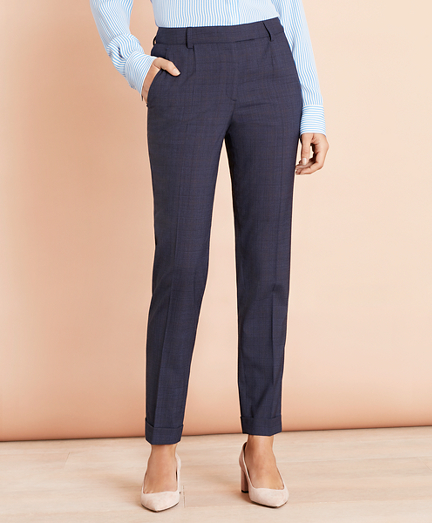 Plaid Stretch-Wool Pleat-Front Pants