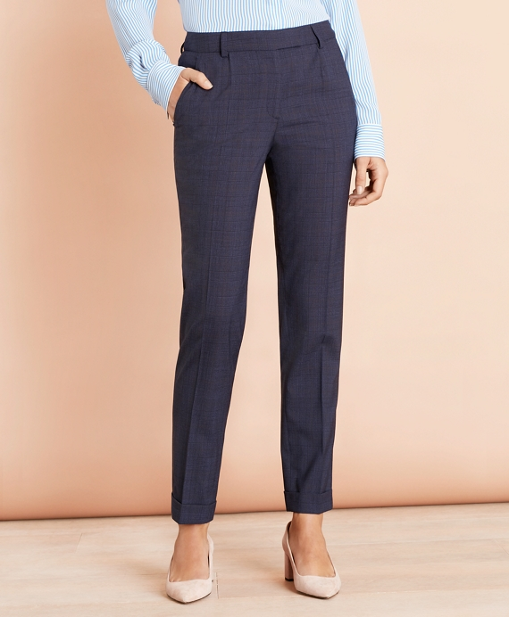Plaid Stretch Wool Pleat Front Pants by Brooks Brothers