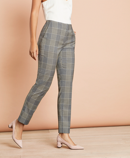 Plaid Stretch-Wool Straight-Leg Pants