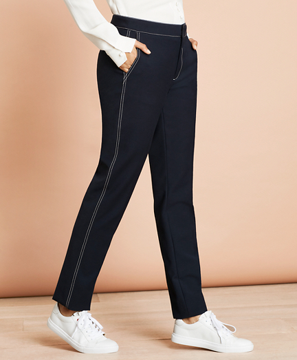 Topstitched Wool-Blend Pants