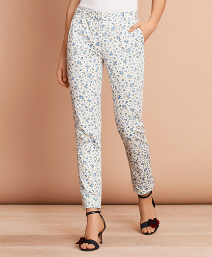 Floral-Print Stretch Cotton Sateen Pants