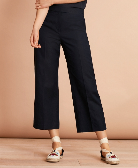 Irish Linen-Cotton Cropped Wide-Leg Pants Navy