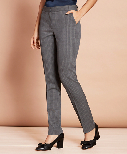 Slim-Fit Pinstripe Stretch Wool Pants