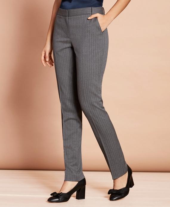 Slim-Fit Pinstripe Stretch Wool Pants Grey