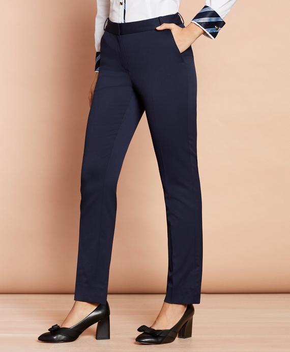 Slim-Fit Stretch Wool Pants Navy