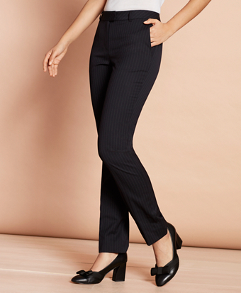 Pinstripe Stretch-Wool Tapered Trousers