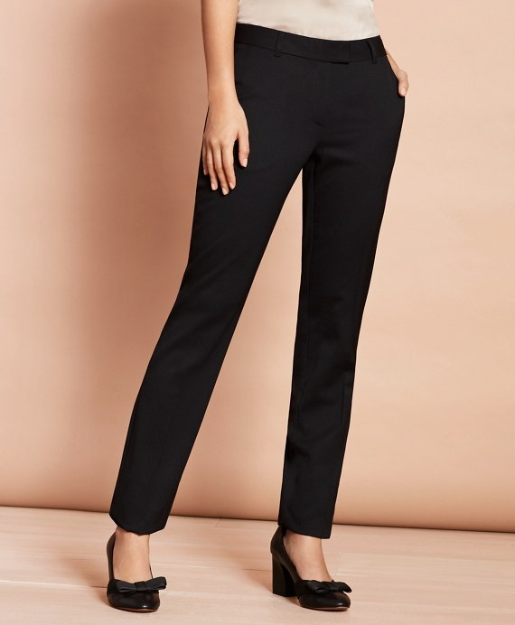 Stretch-Wool Tapered Trousers Black
