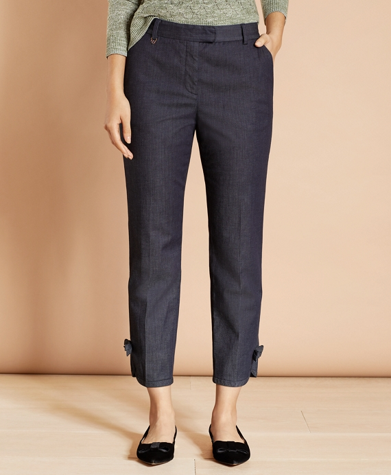 Stretch Cotton Denim Slim-Fit Pants Dark Blue