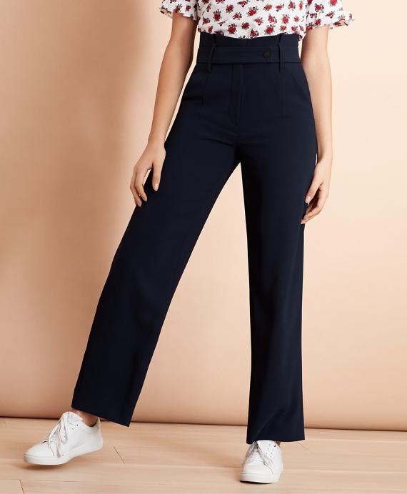 Crepe High-Rise Wide-Leg Pants Navy