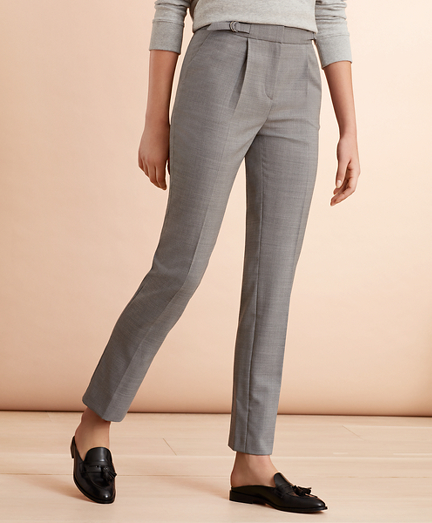 Wool-Blend Hopsack Pleated Pants