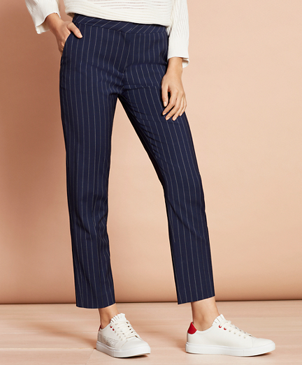 Striped Stretch-Wool Tapered Pants