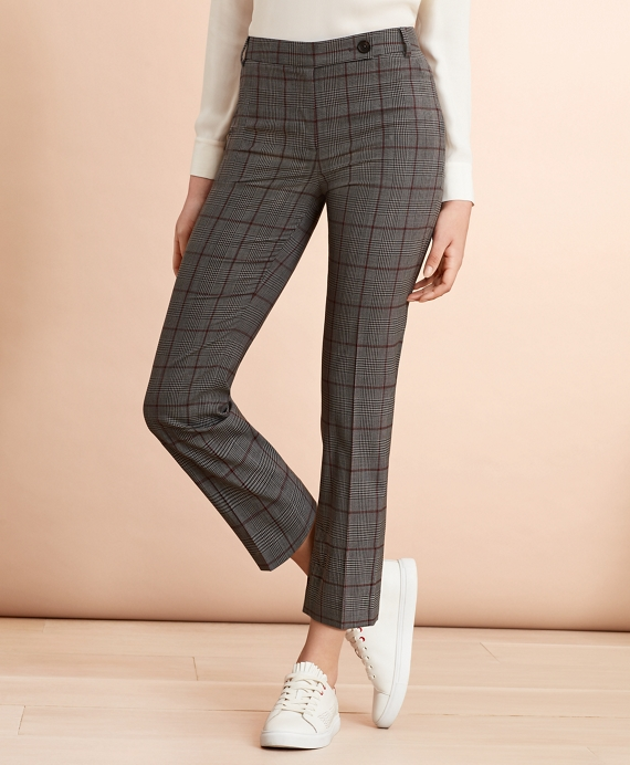 Plaid Stretch-Wool Cropped Pants Grey