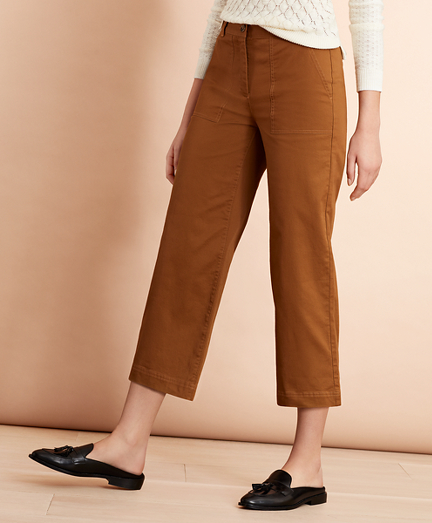 Stretch Cotton Twill Cropped Wide-Leg Pants