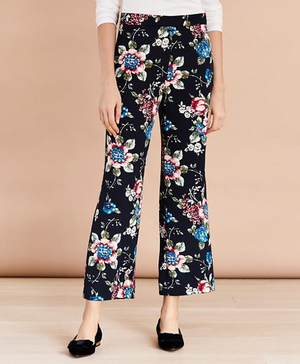 Floral-Print Cropped Wide-Leg Pants