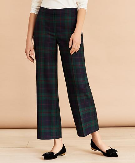 Tartan Cropped Wide-Leg Pants