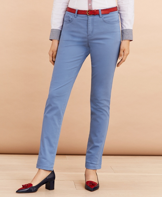 Stretch Cotton Sateen Five-Pocket Pants Blue
