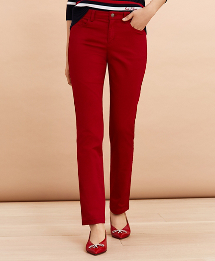 Stretch Cotton Sateen Five-Pocket Pants