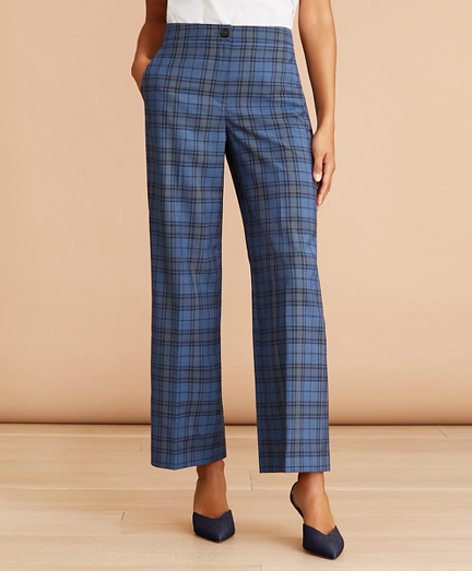Tartan Wool Cropped Wide-Leg Pants