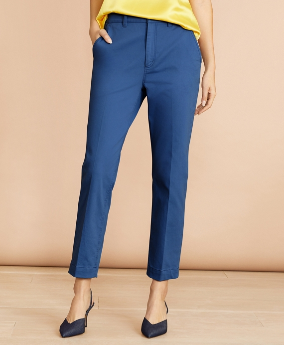 Stretch Cotton Twill Ankle Pants Blue