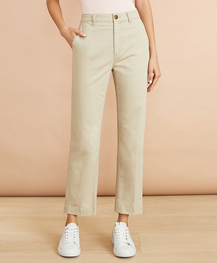 Stretch Cotton Twill Ankle Pants