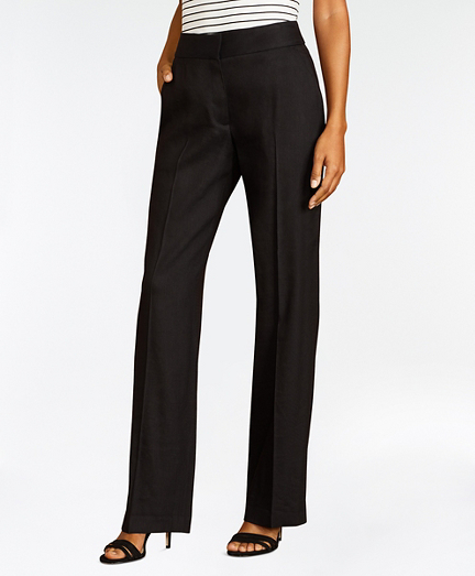 Linen-Blend Twill Wide-Leg Pants