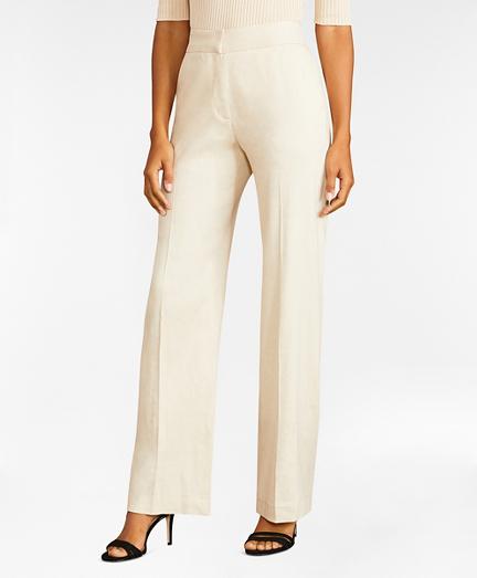 Linen-Blend Twill Wide-Leg Pants
