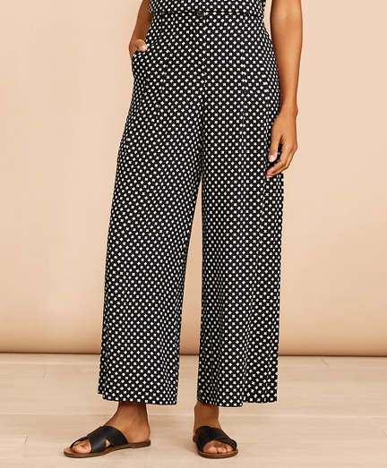 Floral-Print Pleat-Front Cropped Wide-Leg Pants