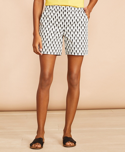 Seahorse-Print Stretch Cotton Sateen Shorts