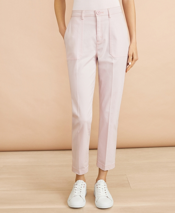Stretch Cotton Sateen Patch Pocket Pants Light Pink
