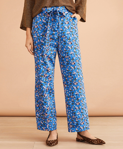 Floral-Print Cotton Sateen Cropped Wide-Leg Pants