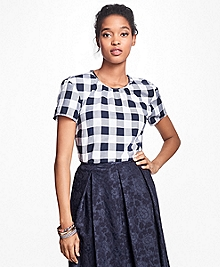 Gingham Cotton Twill Blouse