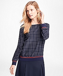Windowpane Silk Crepe Boatneck Blouse