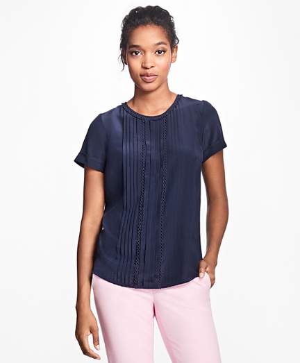 Short-Sleeve Silk Crepe Pleated Top