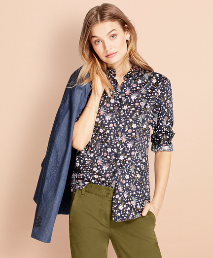 Floral-Print Cotton Sateen Shirt
