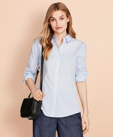 Floral-Print Stretch Cotton Gingham Shirt
