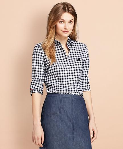 Gingham Brushed-Twill Shirt