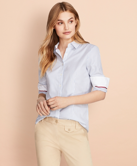Nine-to-Nine Dobby Stripe Stretch Cotton Shirt Blue