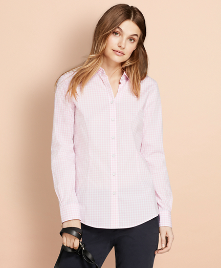 Gingham Stretch Cotton Poplin Shirt