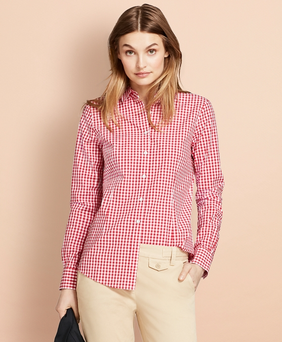 Gingham Stretch Cotton Poplin Shirt Red