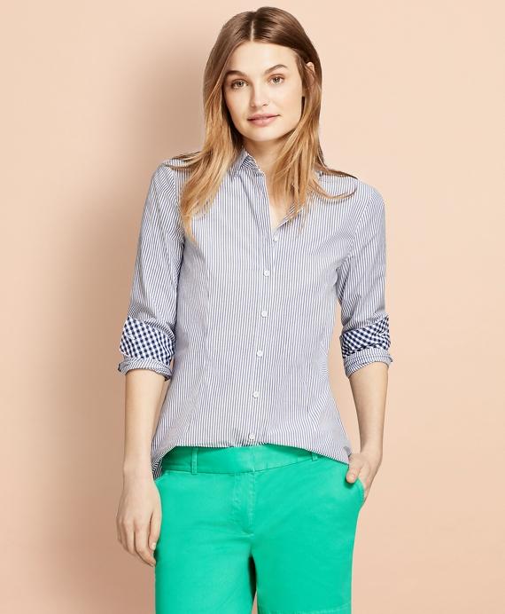 Striped Stretch Cotton Poplin Shirt Blue